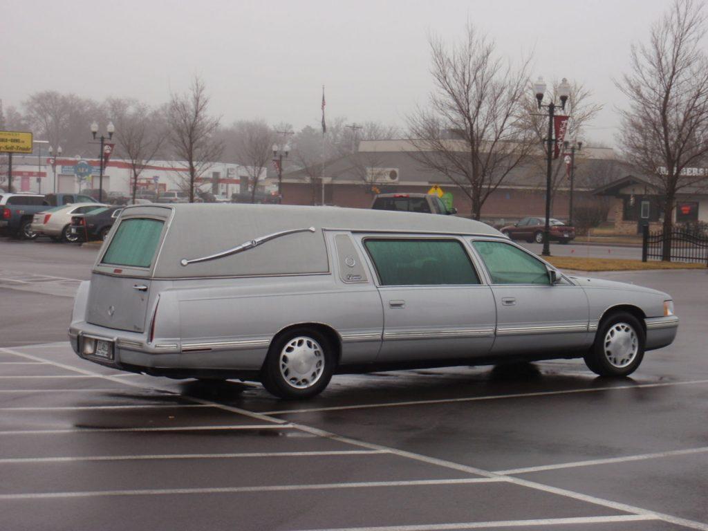 Blue 1998 Cadillac Deville Superior Statesman Hearse / Funeral Coach